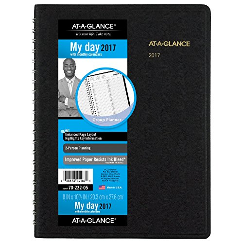 AT-A-GLANCE Daily Appointment Book / Planner 2017, Two-Person, 8 x 10-7/8