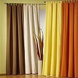 Gardinen-Vorhang-BLICKDICHT-moderner-Schlaufenschal-mit-Kruselband-Farbe-CREME-HxB-245-x-140-cm-Microfaser