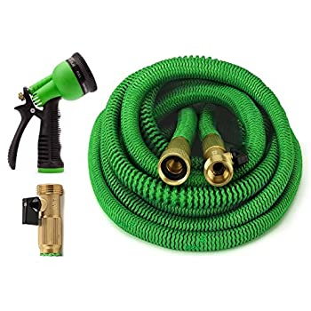 ALL NEW 2017 Garden Hose 50 Feet Expandable Hose With All Brass Connectors, 8 Pattern Spray Nozzle And High Pressure, {IMPROVED} Expanding Garden Hose