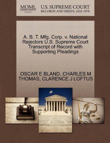 A. B. T. Mfg. Corp. v. National Rejectors U.S. Sup…