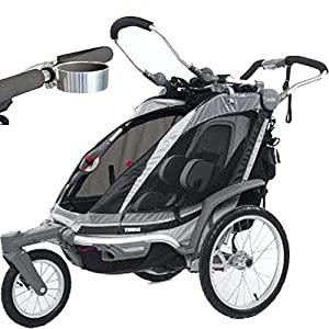 Thule Chariot Chinook 1 Child Carrier with Strolling Kit and Cup Holder - Black