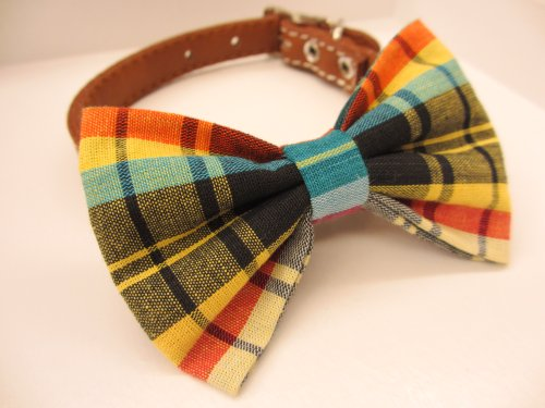 Dog or Cat Slide on Handcrafted Bow Tie Collar Accessory Made from Thai Tradition Pakaoma 1 Cotton Fabric So Chic