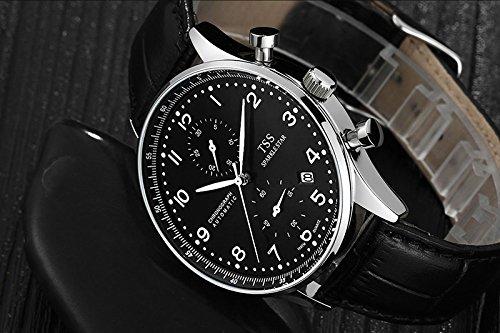 TSS Men's Black Dial Silver Hand Black Leather Band Quartz Movement Wrist Watch свитшот mexx mx3026530 tss 001