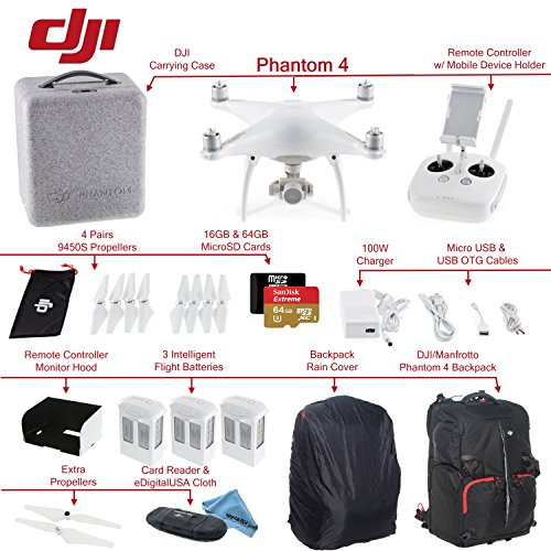 DJI Phantom 4 Quadcopter Bundle: Includes 3 Intelligent Flight Batteries, SanDisk 64GB Extreme MicroSD Card, Monitor Hood, DJI/Manfrotto Backpack for Phantom 4 and more...