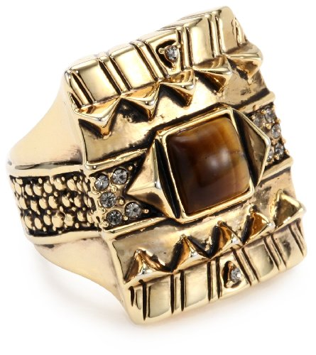 House of Harlow 1960 Gold-Plated Cushion Cocktail Ring with Tiger Eye Stone, Size 8