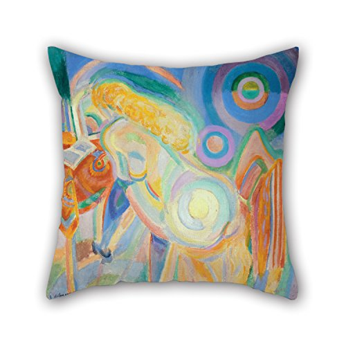 18 X 18 Inches / 45 By 45 Cm Oil Painting Robert Delaunay - Femme Nue Lisant (Nude Woman Reading) Pillow Covers,2 Sides Is Fit For Kitchen,divan,kids Room,lover,lounge,bar Seat