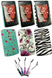 Emartbuy® LG Optimus L1 II E410 - Bundle of 5 Metallic Mini Stylus + Bundle Pack of 3 Clip On Protection Case/Cover/Skin - Violet Flowers, Zebra Black White & Rose Garden
