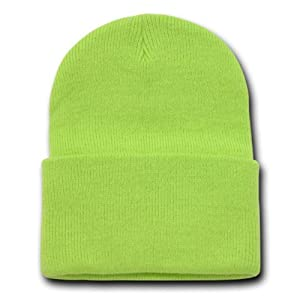 LIME GREEN LONG BEANIE SKI CAP CAPS HAT HATS CUFFED at #0: 51lQgLewkGL SY300