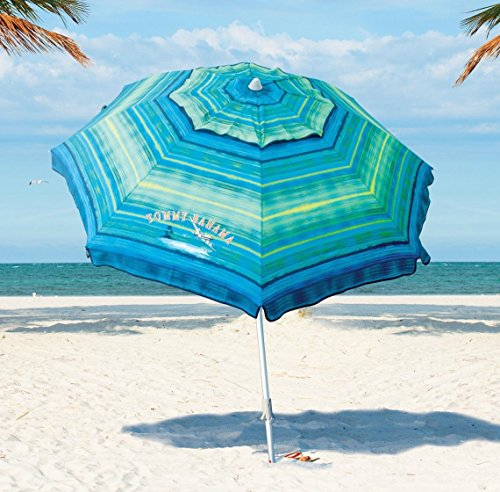 Tommy Bahama 2016 Sand Anchor 7 feet Beach Umbrella with Tilt and Telescoping Pole (Green/Blue Stripe)