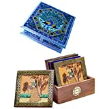 Mahadev Handicrafts Meenakari White Metal Dryfruit Box And Wooden Tea Coaster Set