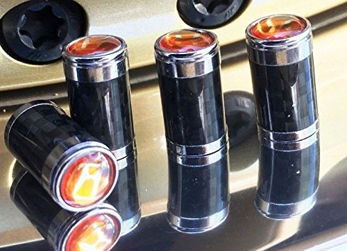 AP Creations Custom Design - 3K Carbon Fiber CF Tire Valve Stem Caps with Logo Emblem, Copper Sheet Backing Plate, Aluminum Construction - for HONDA (Orange) (Carbon Fiber Honda Emblem compare prices)