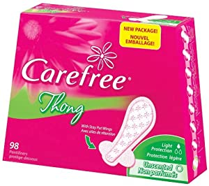 CAREFREE® Thong Pantiliners Unscented 4/98ct
