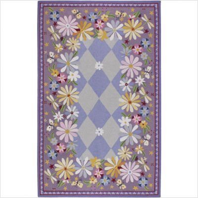 "Flor Purple Garden Hooked Rug Size: 2' 6"" x 4'"