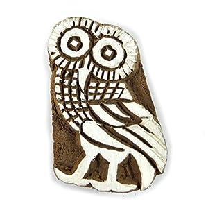 Indien Bois Timbres Owl Conception Stamp main imploré Stamp Tampon d'imprimerie textile