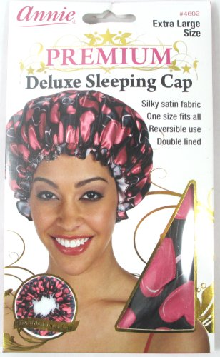 Annie Premium Deluxe Sleeping Cap Heart Pattern (Black) Universal Size (Extra Large Size) #4602