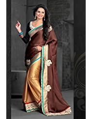 AG Lifestyle Brown & Beige Chiffon Saree With Unstitched Blouse ASL608
