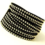 Awesome 12 Row Fringe Black Faux Leather Double Wrap Bracelet with Gold Studs Adjustable Button Snap Closure Picture