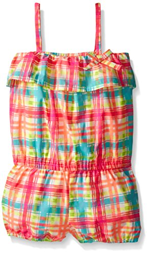 The Children's Place Toddler Girls Plaid Romper, Simply White, 3T