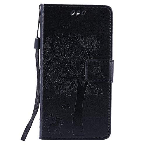 Voguecase® Per LG Magna/LG G4c, (grande albero - nero) Elegante borsa in pelle Custodia Case Cover Protezione chiusura ventosa Con Stilo Penna