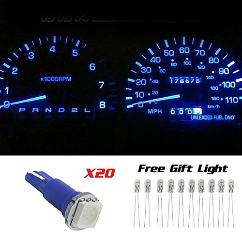 Partsam 20X Blue T5 1 Smd 5050 Dashboard Wedge Car Led Light Bulb Lamp 37 73 74 79