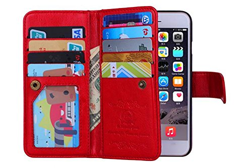 "iPhone 6 Case - Egrace Vintage Classic Wallet Case Hard Shell Skin Case [Stand View] with Strap Apple iPhone 6 (4.7"" inch) Case Premium PU Leather Case with Built-in 9 Card Slots Aple 4.7inch iPhone 6"