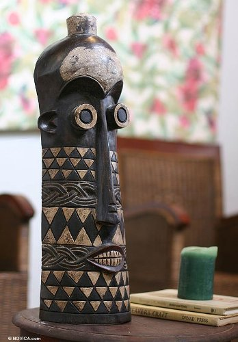 NOVICA Decorative Ghanaian Large Sese Wood Mask, Black, 'Tigari Psychic'