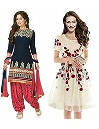 Sky Global Women's Regular Wear Dress Material And Kurti (Combo Pack Of 2)(SKY_DK_9045)(SKY_223_Blue)(SKY_7006...