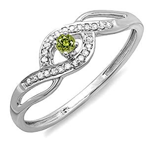10K White Gold Round Light Colored Peridot And White Diamond Engagement Bridal Promise Ring (Size 6)