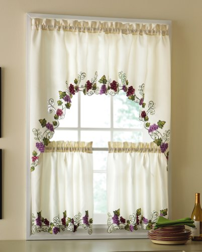 Kitchen Curtains And Valances: Vineyard Grapes Embroidered