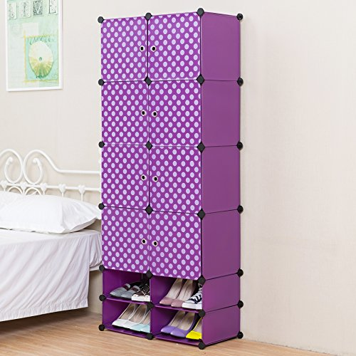 Review C&AHOME - 8 Cubes Clothes Closet With 4 Cube Shoe Rack, Purple