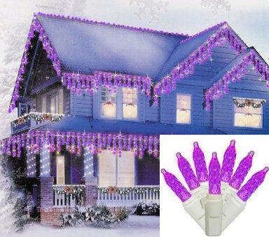 Set Of 70 Purple Led M5 Mini Twinkle Icicle Christmas Lights - White Wire