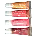 Bee Naturals Lip Gloss Set 4 Colors - All Natural Non-chemical Based Formula Softens and Shines