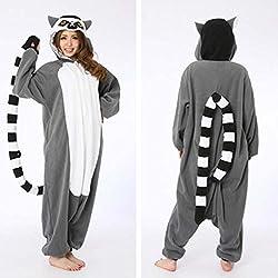 Adulte Unisexe Anime Animal Costume Cosplay Combinaison Pyjama Outfit Nuit Vêtements Onesie Fleece Halloween Costume Soirée de Déguisements Lemur (L(168-178CM))