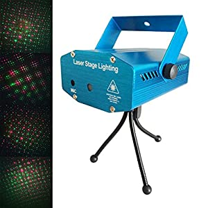 CO-RODE Music- Activated LED Mini Stage laser light Night Club Bar Projector DJ Disco KTV Light with Stroboflash