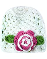 niceEshop(TM) Infant Girl Baby Handmade Knit Crochet Flowers Hat Cap,White&Pink