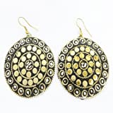 Antique White Mosaic Tiles Brass Gold Tone Metal Hoop Earring Set Fashion Jewelry