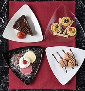 Plastic Plates and Bowls : EMI Yoshi Triangle Dessert Plates - Bone - 6 Inch