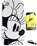 BUKIT CELL Disney ® Minnie Mouse HARD BACK PIECE Faceplate Protector Case Cover (Black and White Minnie Original Sketch Draw) for Apple iPhone 4S / 4G / 4 (Fits any carrier AT&T, VERIZON AND SPRINT) + Free WirelessGeeks247 Metallic Detachable Touch Screen STYLUS PEN with Anti Dust Plug