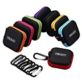 Meuxan 8-Pack Earbud Case Mini Carrying Bag with Carabiner for Earphone Headphone USB Cable Flash Drive, 8 Colors