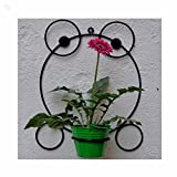 Wrought Iron Wall Bracket With Metal Bucket - Frog - Black & Green