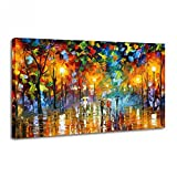 Hand-painted Oil Painting,Raybre Art® Modern Canvas Painting 100% Hand painted Rainy Street Colorful Canvas Wall Art for Home Decorations ( No Frame)