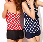 Two Color Polka Dots Tankini Sets Swi...
