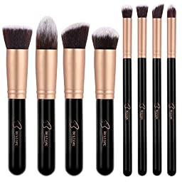 BESTOPE Makeup Brushes Premium Cosmetic Makeup Brush Set Synthetic Kabuki Makeup Foundation Eyeliner Blush Contour Brushes for Powder Cream Concealer Brush Kit(8PCs, Rose Gold)