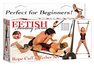 Pipedream Fetish Fantasy Rope Cuff & Tether Set Black