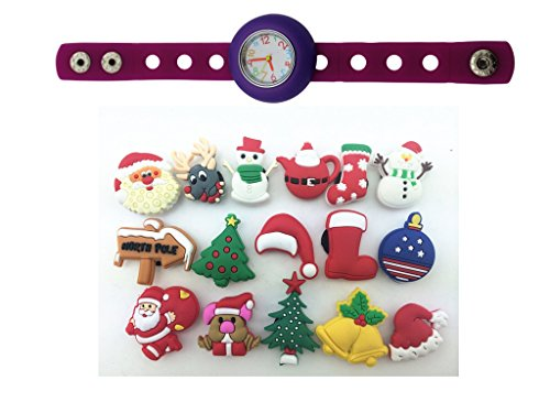 1 Purple Kids Diy Lovely Watch + 16 Christmas Shoe Charms Party Gift