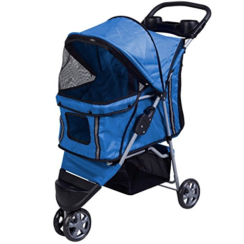 Superbuy Pet Stroller Cat Dog 3 Wheels Stroller Travel Folding Carrier (Blue)