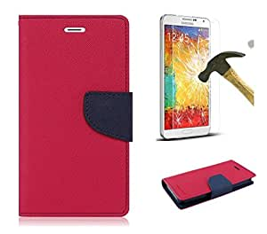 Relax And Shop Premium Quality Flip Cover With Tempered Glass For Lenovo A6000- (Bright Pink + Tempered Glass)