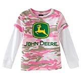 John Deere Infant and Toddler Girls Hangdown T-Shirt Pink Camo