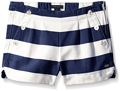 Tommy Girl Big Girls' Yd Rugby Stripe Short, Flag Blue, 7