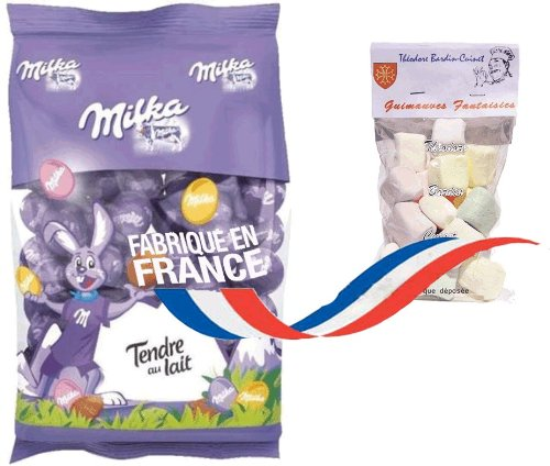 french mini easter eggs milk chocolate 350 gr-minis oeufs de paques au chocolat au lait MILKA + 1 bag of Marshmallows Théodore Bardin-Cuinet